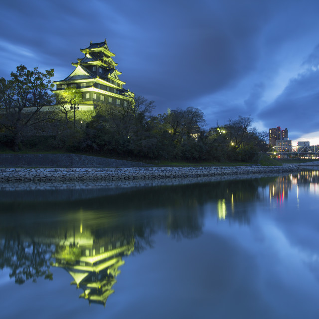 """Okayama Castle at dusk, Okayama, Okayama Prefecture, Japan, Asia"" stock image"