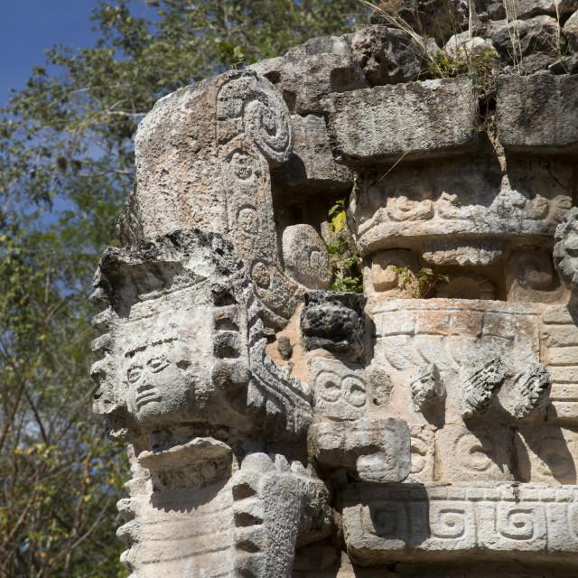 """Serpent's Head with Human Face, The Palace, Labna, Mayan Ruins, Yucatan,..."" stock image"
