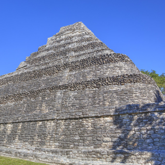 """Temple I, Chaccoben, Mayan archaeological site, 110 miles south of Tulum,..."" stock image"