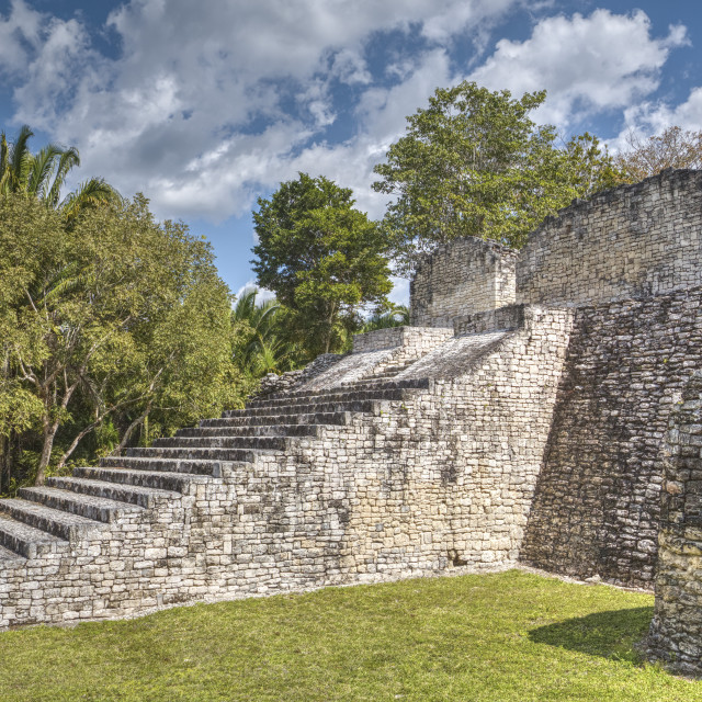 """Stairway to the Acropolis, Kohunlich, Mayan archaeological site, Quintana..."" stock image"