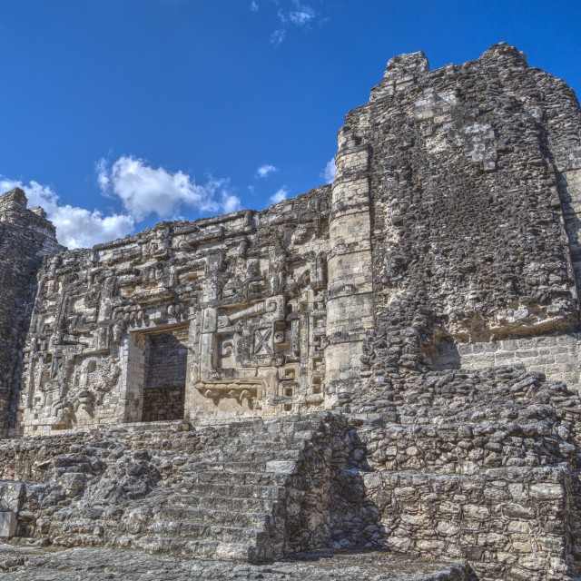 """Monster Mouth Doorway, Hormiguero, Mayan archaeological site, Rio Bec style,..."" stock image"