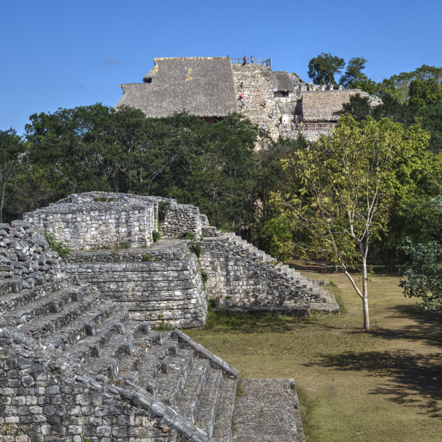 """Structure 17 in the foreground with The Acropolis behind, Ek Balam, Mayan..."" stock image"