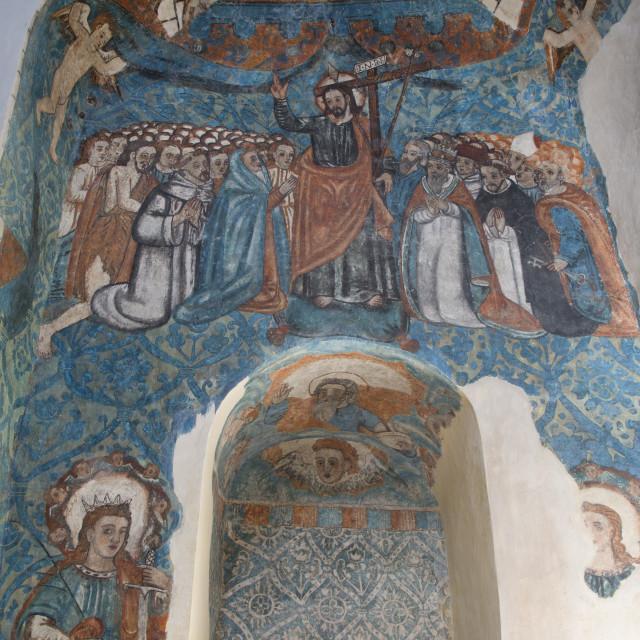 """16th Century Frescos, Church of San Bernadino de Siena and Convent of Sisal,..."" stock image"