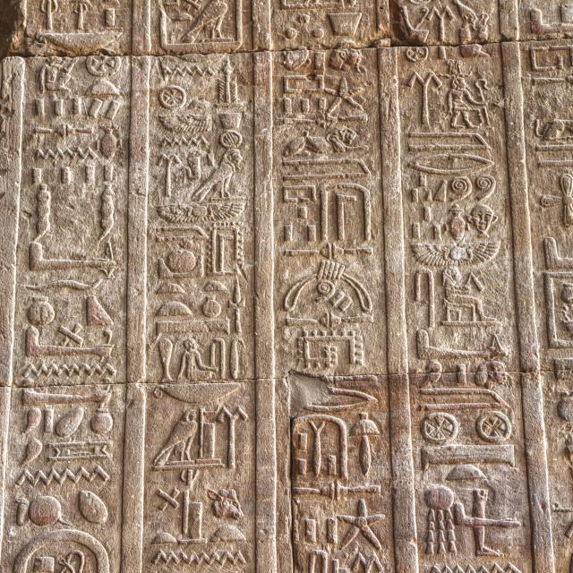 """Hieroglyphs in the Hypostyle Hall, Temple of Horus, Edfu, Egypt"" stock image"