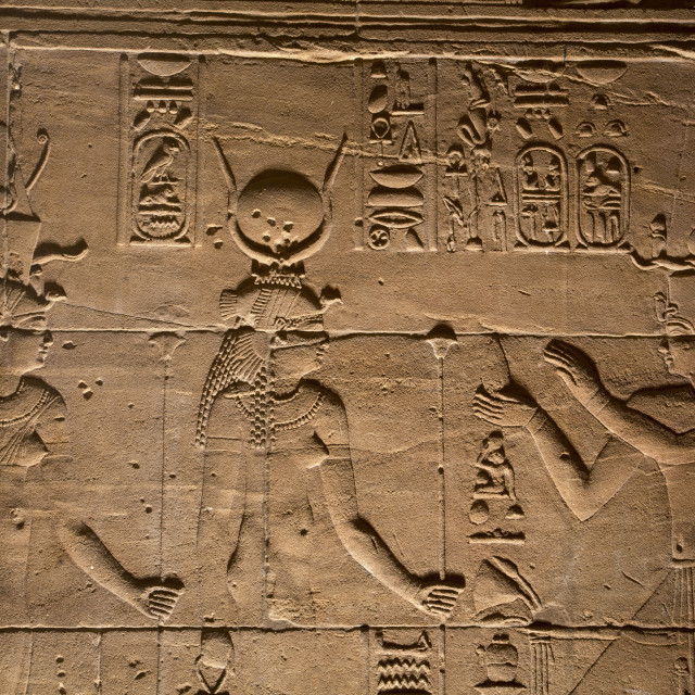 """Decorative Wall Reliefs,Temple of Isis, Island of Philae, Aswan, Egypt"" stock image"