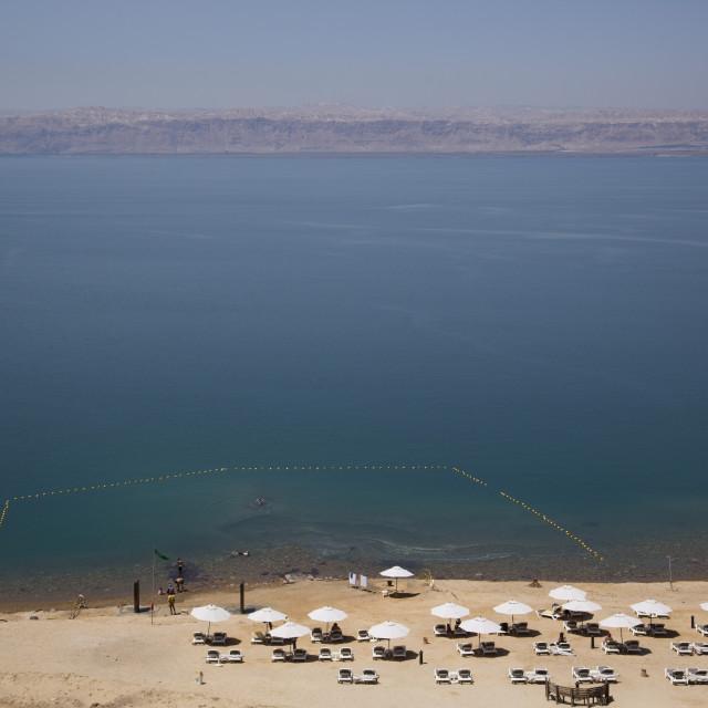 """""""Beach Swimming Area, Crown Plaza Dead Sea Hotel, Dead Sea, Jordan"""" stock image"""