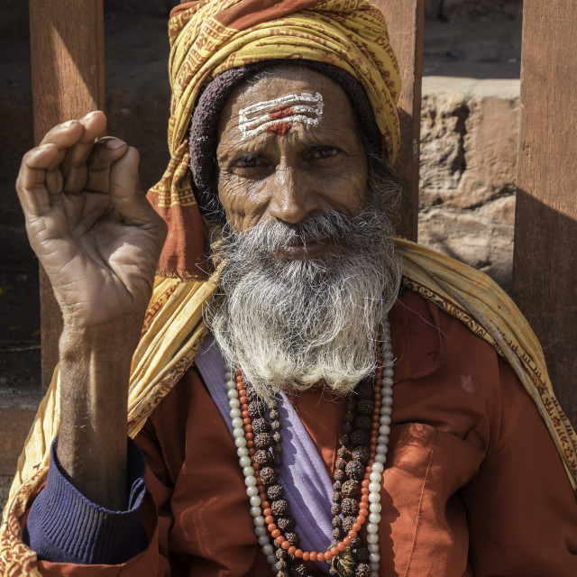 """A Holy Man in the Durbar Square area of Kathmandu, Nepal, Asia"" stock image"