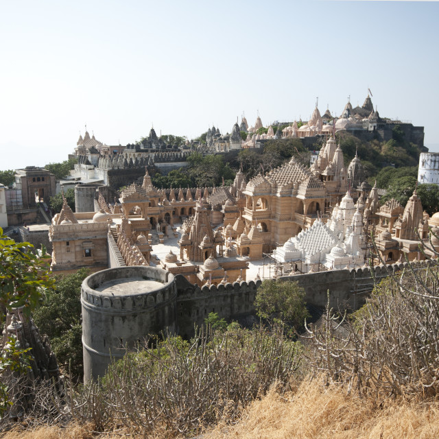"""""""Sacred site of Shatrunjay, containing 863 Jain temples considered holiest of..."""" stock image"""