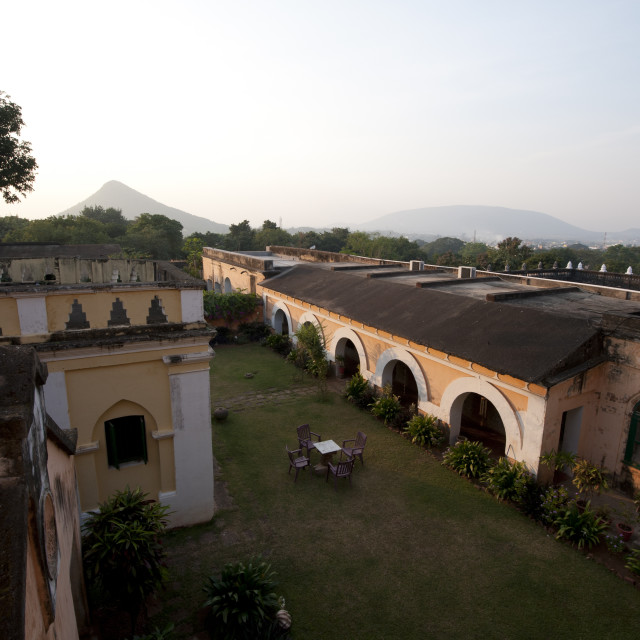 """""""Early morning on the lawns of old rural Rajput palace, Dhenkanal, Orissa..."""" stock image"""