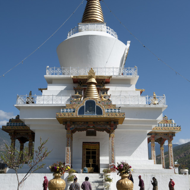 """Bhutanese Buddhist devotees visiting the National Memorial Choeten in the..."" stock image"