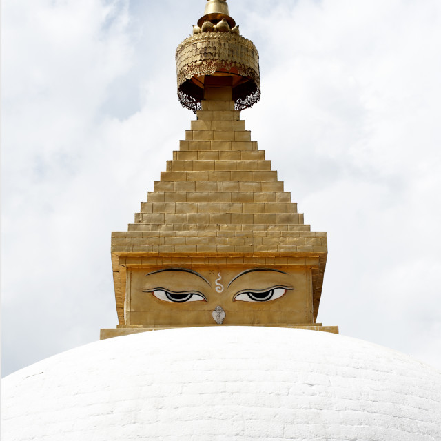"""Buddha's eyes on stupa in the grounds of Khamsum Yulley Namgyal, consecrated..."" stock image"