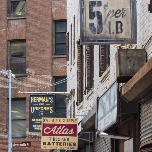 """Old business signs in DUMBO (Down Under Brooklyn Bridge Overpass), Brooklyn,..."" stock image"