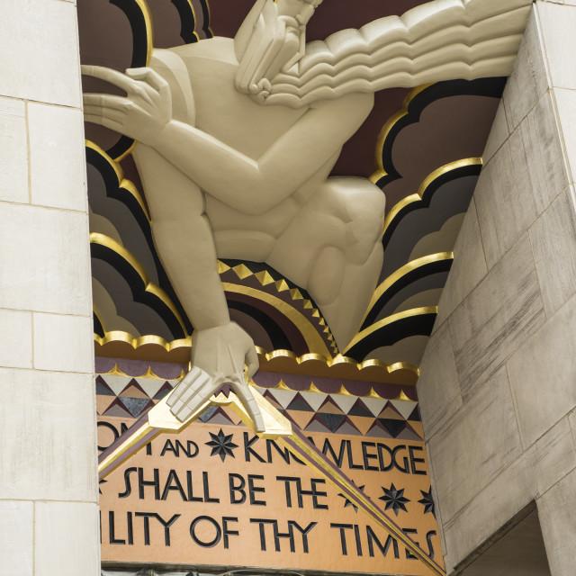"""Art Deco detail of entrance to 30 Rockefeller Plaza, Rockefeller Center,..."" stock image"