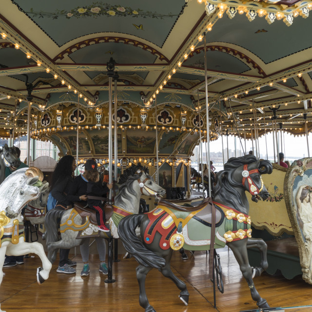 """Jane's Carousel, a restored 1920s fairground carousel now located in Brooklyn..."" stock image"