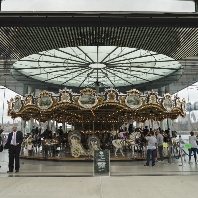 """""""Jane's Carousel, a restored 1920s fairground carousel now located in Brooklyn..."""" stock image"""