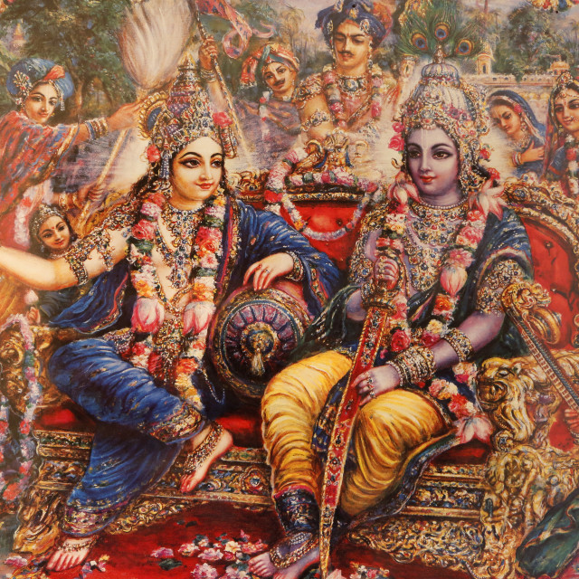 """""""Picture of Radha and Krishna displayed in an ISKCON temple, Sarcelles, Seine..."""" stock image"""