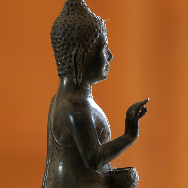 """""""Buddha statue in profile, France, Europe"""" stock image"""
