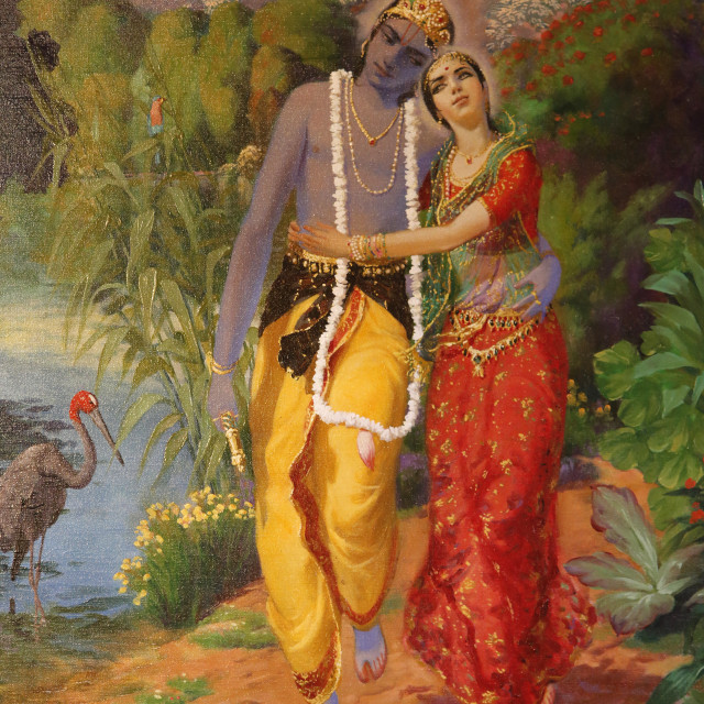 """Picture of Krishna and Radha displayed in an ISKCON temple, Sarcelles, Seine..."" stock image"