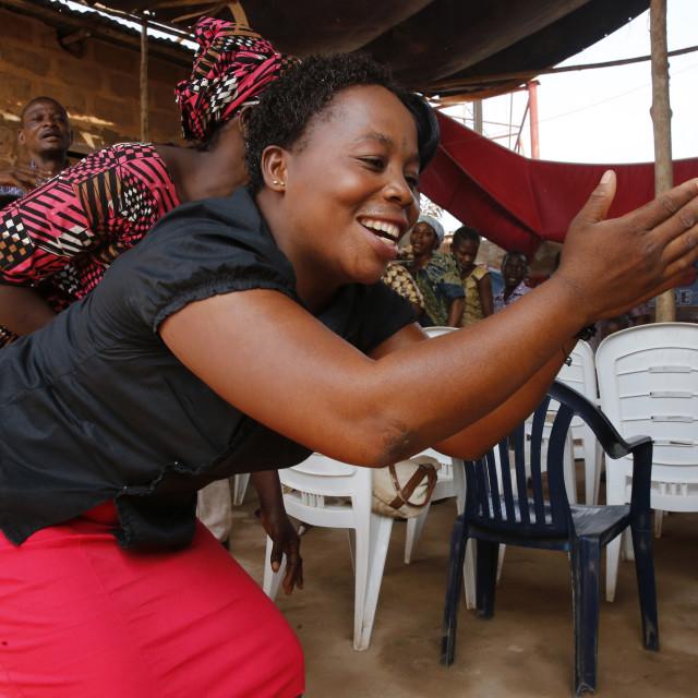 """Pentecostal Sunday service, Missessinto, Benin, West Africa, Africa"" stock image"