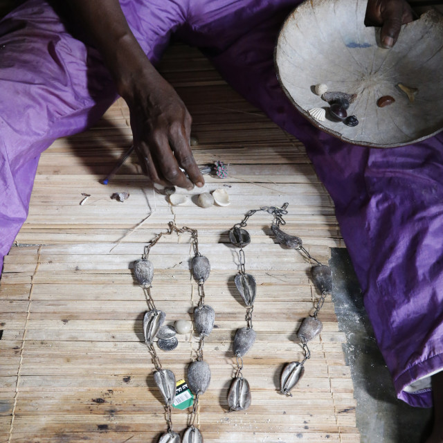 """Rosary made of cowries used in divination in the house of the Fa in Ouidah,..."" stock image"
