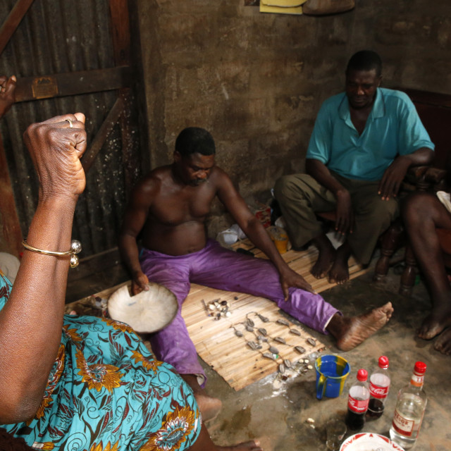 """Fortune telling by a Fa in Ouidah, Benin, West Africa, Africa"" stock image"
