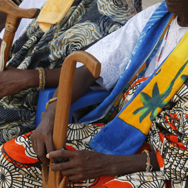 """Chiefs attending the Ouidah Voodoo festival, Ouidah, Benin, West Africa, Africa"" stock image"
