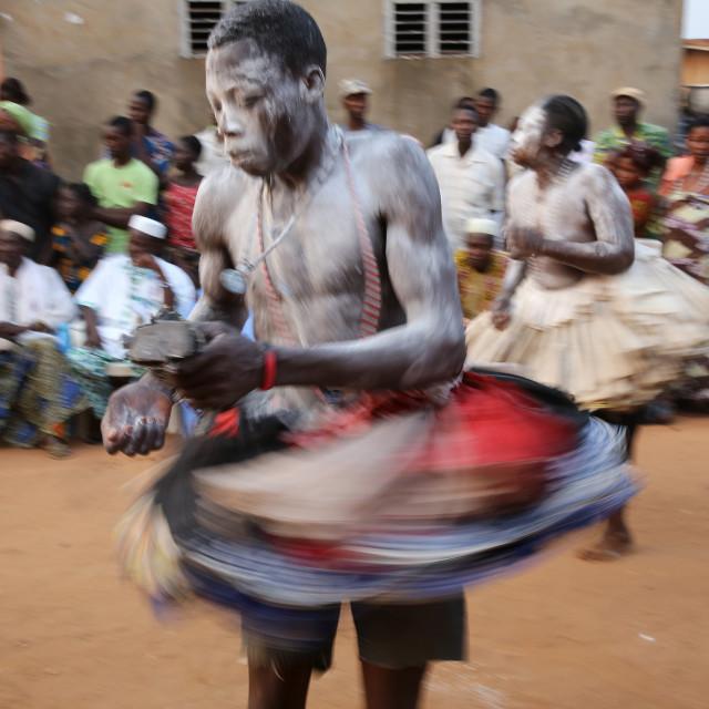 """Gambada dancers in Ouidah, Benin, West Africa, Africa"" stock image"