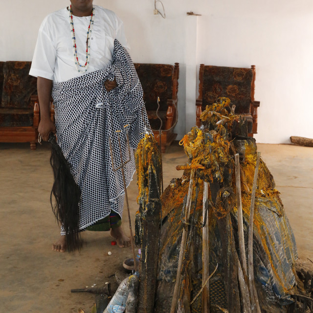 """Voodoo temple priest Mathias Sogbe, Hadagon, Zou, Benin, West Africa, Africa"" stock image"