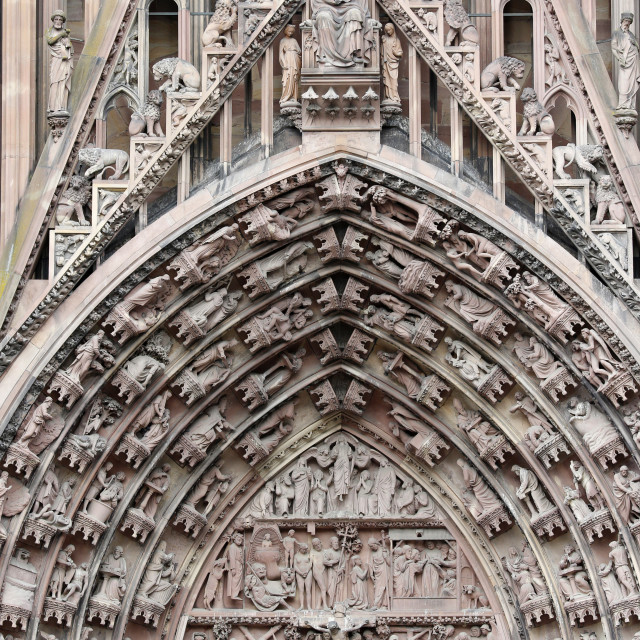 """""""The Passion of our Lord on the western facade of Our Lady of Strasbourg..."""" stock image"""
