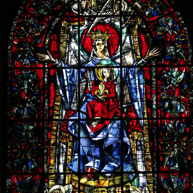"""""""Stained glass window of Our Lady of Strasbourg by Max Ingrand, Our Lady of..."""" stock image"""