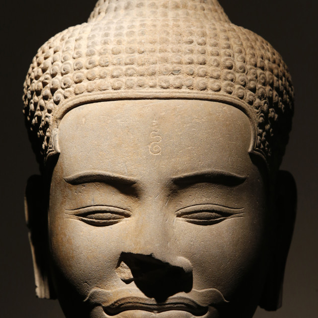 """Sandstone head, Baphuon style dating from the 11th century from Siem Reap,..."" stock image"