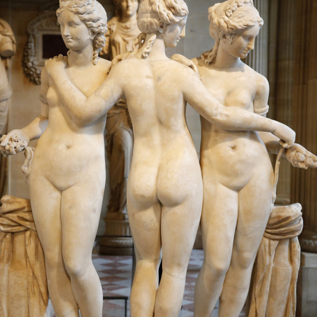 """The Three Graces, dating from the second century AD, marble, Louvre Museum,..."" stock image"