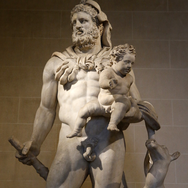 """Statue of Heracles and Telephos dating from the second century AD from..."" stock image"