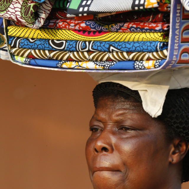 """""""Street vendor selling African cloths, Lome, Togo, West Africa, Africa"""" stock image"""