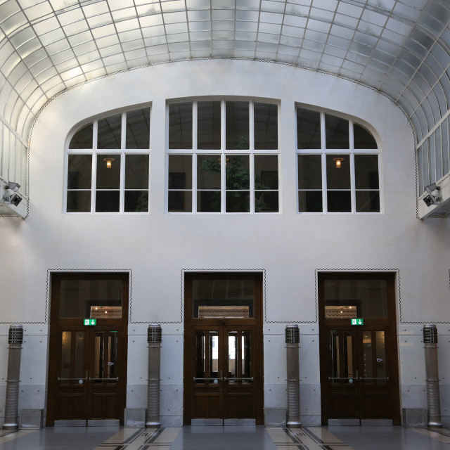 """""""Hall. Postal Office Savings Bank Building by Otto Wagner, Vienna, Austria,..."""" stock image"""