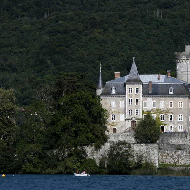 """Chateau de Duingt, Lake Annecy, Haute-Savoie, France, Europe"" stock image"