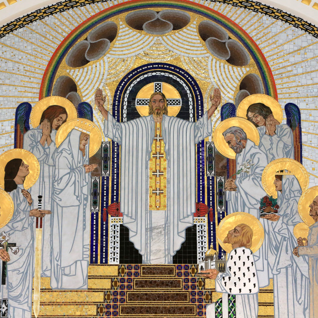 """""""Jesus Christ depicted in The Home in Paradise, mosaics created by Remigius..."""" stock image"""
