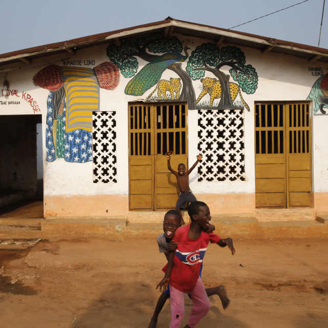 """""""Boys playing outside a Voodoo temple in Ouidah, Benin, West Africa, Africa"""" stock image"""