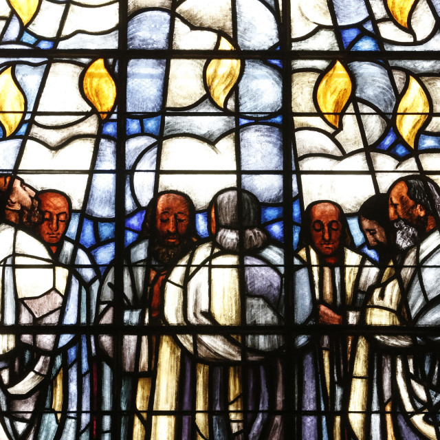 """Stained glass of Whit Sunday, in La Madeleine Protestant church, Geneva,..."" stock image"