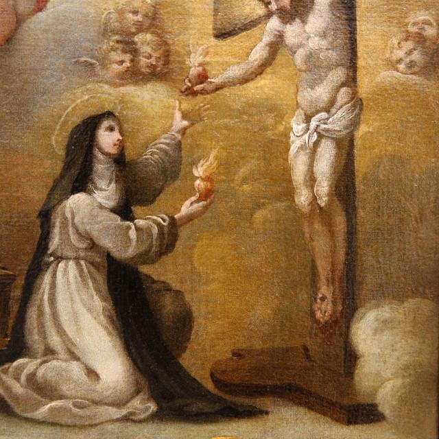 """Jesus Christ and Lutgarde de Tongres exchanging hearts, 17th century,..."" stock image"