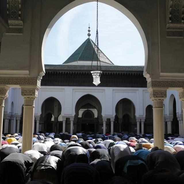 """Friday prayer at the Paris Great Mosque, Paris, France, Europe"" stock image"