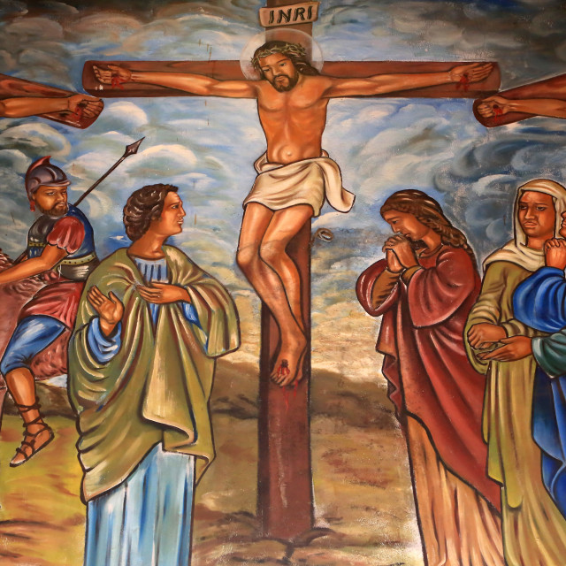 """""""The Crucifixion of Jesus, St. Peter and Paul Cathedral, Aneho, Togo, West..."""" stock image"""