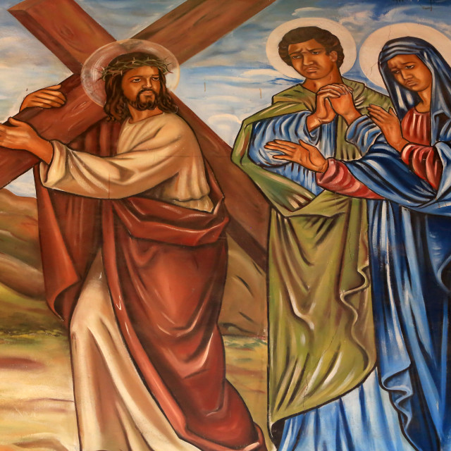 """""""Jesus Christ carrying the cross. St. Peter and Paul Cathedral, Aneho, Togo,..."""" stock image"""