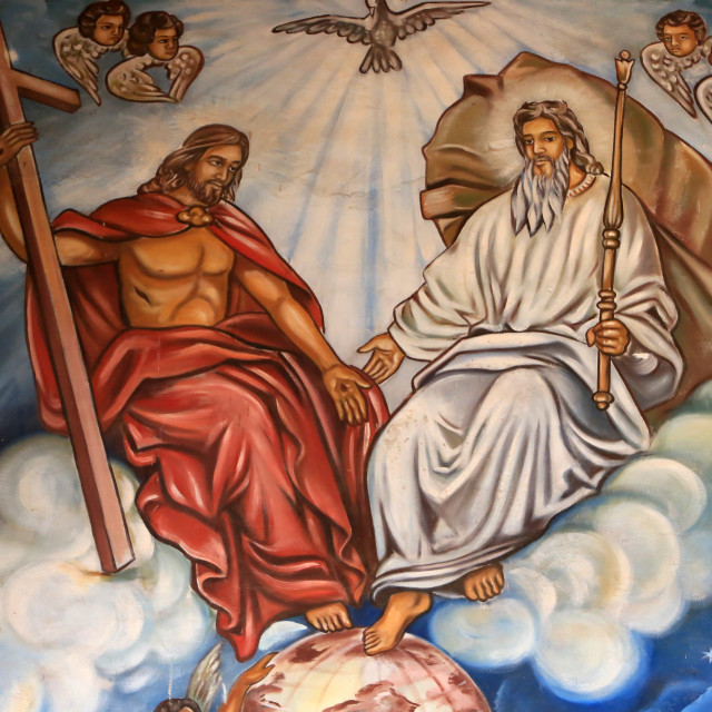 """""""Holy Trinity of the Father, the Son and the Holy Spirit. St. Peter and Paul..."""" stock image"""