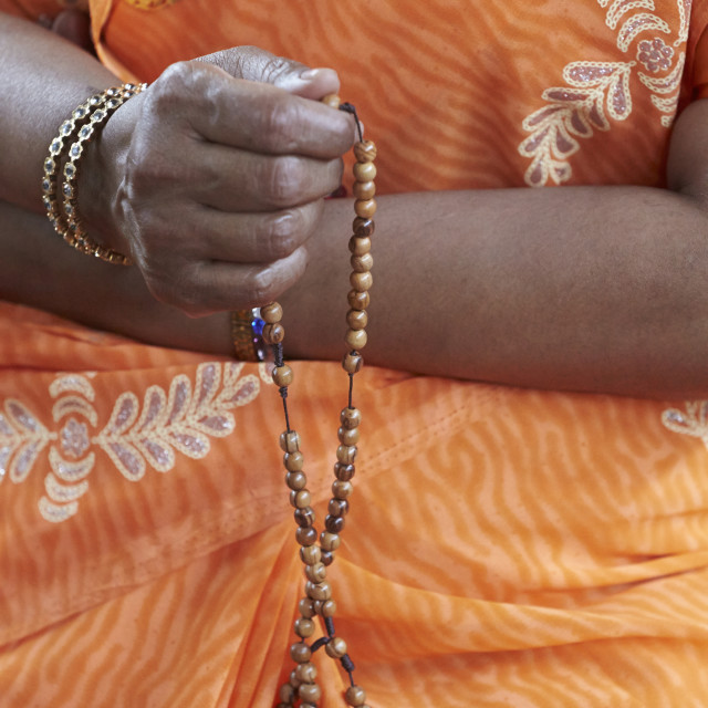 """Tamil catholic woman with rosary."" stock image"