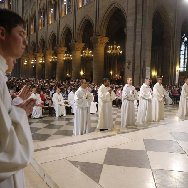"""Deacon ordinations in Notre Dame cathedral, Paris."" stock image"