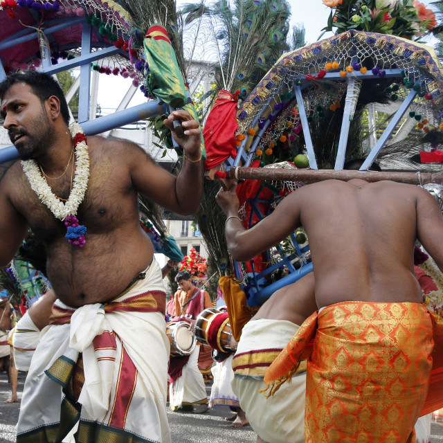 """Ganesh festival in Paris. Men carrying kavadis and dancing."" stock image"