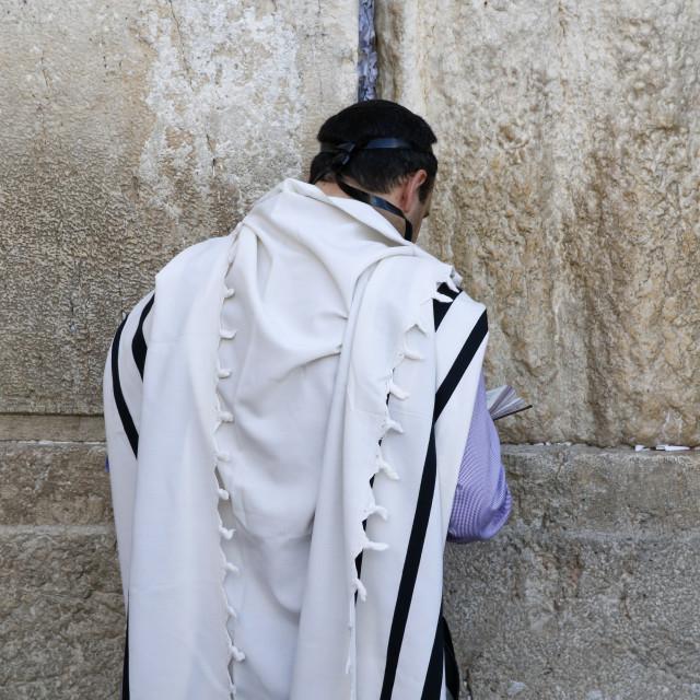 """Faithful at the Western wall, Jerusalem."" stock image"