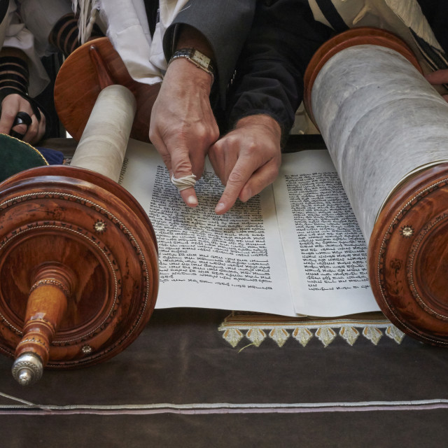 """Faithful reading the Torah at the Western wall, Jerusalem."" stock image"