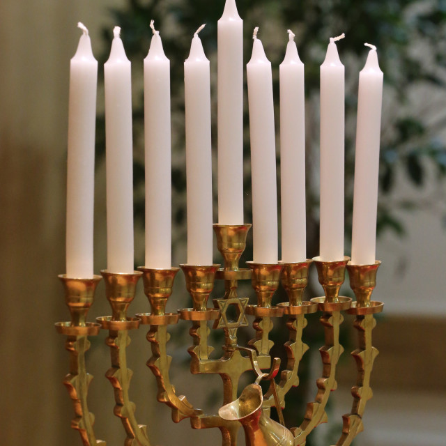 """Hanukkha with nine candles."" stock image"